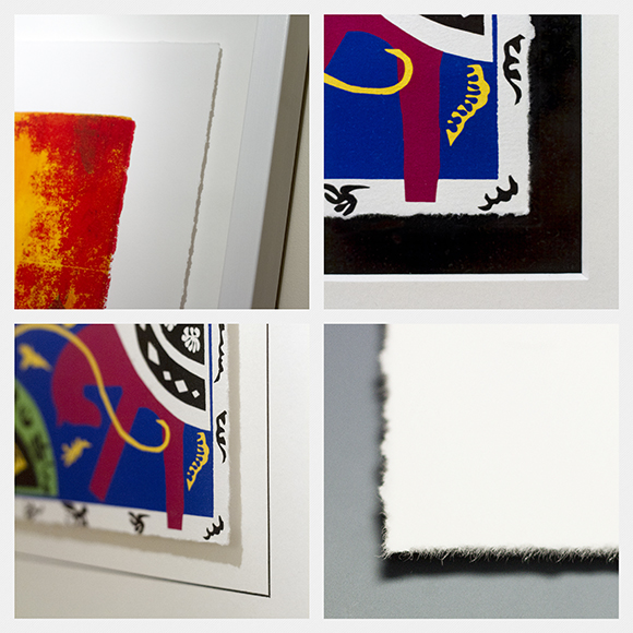A collection of hand deckled edges on prints in our gallery