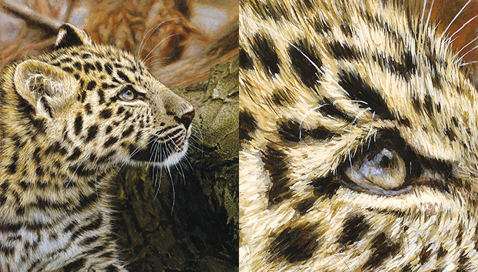 "Full Painting of ""Cheetah Cub"" and Detail Crop Sowing Brushstrokes"
